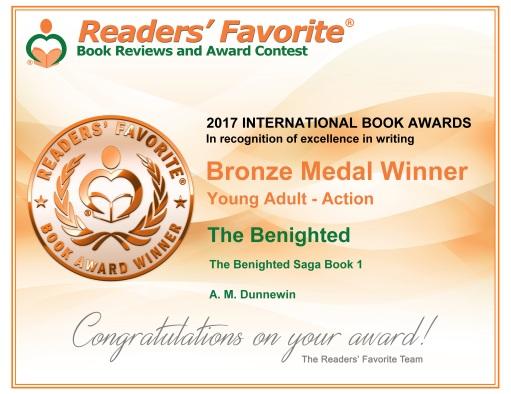 2017 Readers Favorite Award Cert for Benighted